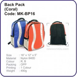 Backpack Bag (Coral) MK-BP16