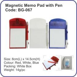 Magnetic memo pad with pen BG-067