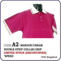 T-Shirt CVC A2 - Maroon/Cream