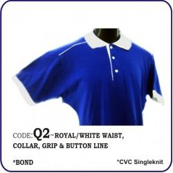 T-Shirt CVC Q2 - Royal/White