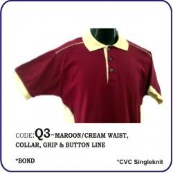 T-Shirt CVC Q3 - Maroon/Cream