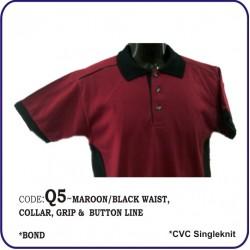 T-Shirt CVC Q5 - Maroon/Black